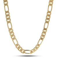 Mens Womens 14k Gold Plated 5mm Italian Figaro Link Chain Necklace 24 Inches