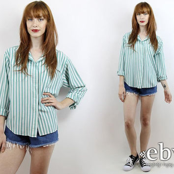 Vintage 80s Lee Green Striped Button Up Blouse Striped Blouse Striped Shirt Striped Top Button Down Shirt Button Up Shirt Button Up Blouse