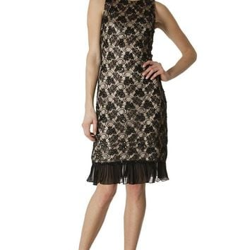 JS Collections - 864007 Floral Lace Dress with Sheer Hemline