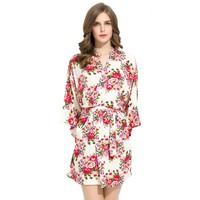 Ivory Floral Cotton Robe