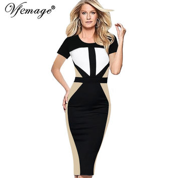 Vfemage Women Elegant Symmetric Contrast Colorblock Tunic High Waist Wear to Work Business Casual Office Party Pencil Dress 1918