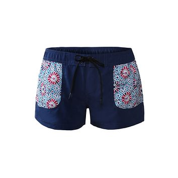 Floral Patch Pocket Navy Board Shorts