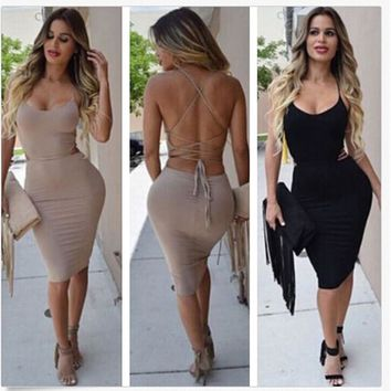 L Vestidos Stretch Laced Back Cage Summer Party Dresses Beige Night Wear Bandage Bodycon Dress Criss Cross sexy dress club wear