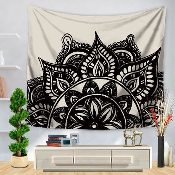 CAMMITEVER Table Cloths Indian Tapestry Black White Gray Blue Green Bohemian Tapestry Wall Hanging Mandala Towel Bedspread Shawl