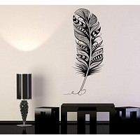 Vinyl Wall Decal Feather Pen Writer Cabinet Design Stickers Unique Gift (815ig)