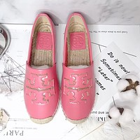 TB Tory Burch new cheap Women Leather pink flat heels Boots Fashion Casual Shoes Best Quality