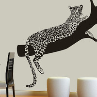 Wall Decal Vinyl Sticker Decals Art Decor Design Leopard Panter Animals Branch Tree Wild World Cat Pets Dorm Kitchen Bedroom Fashion(r730)
