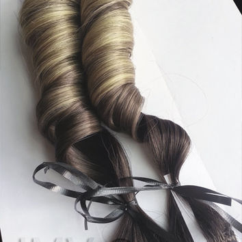 Rustic Caramels #1B Ombre 100% human hair extensions Rustic Blonde Clip-In Straight