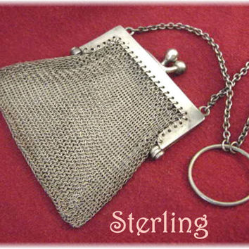 Louis Stern ~ Solid Sterling Silver Mesh Coin Purse with RARE Finger Ring Chain