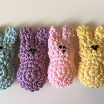 Easter Peeps Crocheted - Set of 4 - Amigurumi Marshmallow Bunny