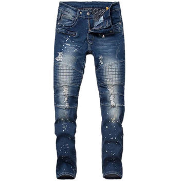 Quilted Knee Denim Biker Jeans