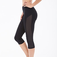 FOREVER 21 Power-Mesh Paneled Capris