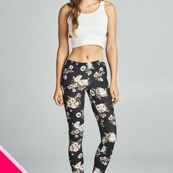 Plus size soft floral print poly spandex brushed leggings