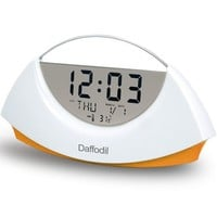 Daffodil AMC530O Stylish Highly Legible LCD Digital Alarm Clock with Calendar and Thermometer - White with Orange Base