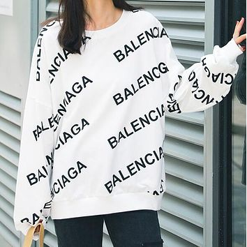 BALENCIAGA New Popular Women Casual Letter Print Long Sleeve Round Collar Sweater Pullover Top Sweatshirt White