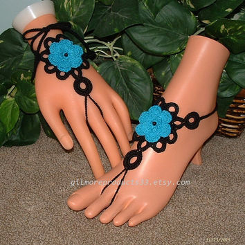 Black and Turquoise Body Jewelry, Crochet Barefoot Sandals, Foot Jewelry, Ankle Bracelet, Slave Anklet, Women's Shoes