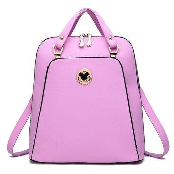 2017 New Arrivals Female Bags Concise Leisure Fashion Sweet Lady Korean Style Backpack Candy Color Pink Sky Blue Beige Black Bag