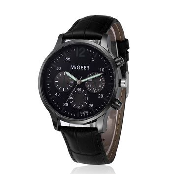 MIGEER Casual Business Men Watches Retro Design Quartz Wrist Watch Brand Luxury Sports Digital Relogio Masculino Saat Gift 2018