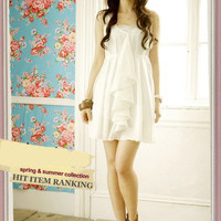 White Lace Chiffon Mini Dress-