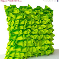 Memorial Day SALE Green Pillow -Neon Satin Ruffle Throw Pillow -Ruffle Pillow Cases -18x18 Sofa Pillow -Gift Pillows -Couch Pillow -Ruffled