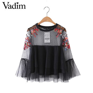 Women sexy flower embroidery ruffles mesh shirts with lining see through pleated blouse transparent casual tops blusas LT1798
