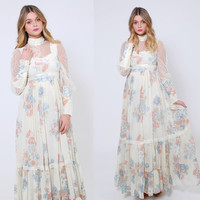 Vintage 70s GUNNE SAX Dress Pastel Floral Lace Prairie Dress Hippie Maxi Dress Boho WEDDING Dress Hippie Wedding Dress