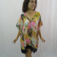 Chiffon Kaftan Dress - Beach Maxi Lace Kaftan Beach Cover Up Resort Lounge Wear Bridesmaids Gift