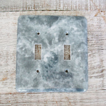 Light Switch Cover Double Marble Light Switch Cover Mid Century Plastic Lightswitch Plate Vintage Double Light Switch Cover 1970s Decor