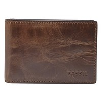 Men's Fossil 'Derrick' Leather Money Clip Wallet - Brown
