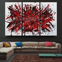 """Triptych Red large wall art abstract Painting, 72"""" Luxury Style Modern Art, Office Decor, Original Painting on Canvas, By Nandita Albright"""