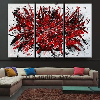 "Triptych Red large wall art abstract Painting, 72"" Luxury Style Modern Art, Office Decor, Original Painting on Canvas, By Nandita Albright"
