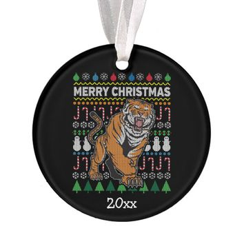 Tiger Ugly Christmas Sweater Wildlife Series Ornament