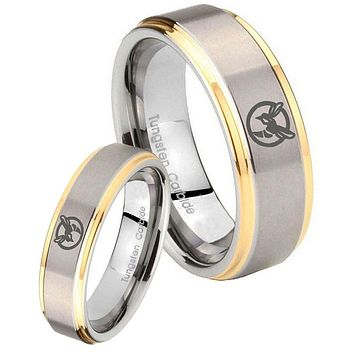 His Hers Step Edge Honey Bee 14K Gold 2 Tone Tungsten Wedding Rings Set