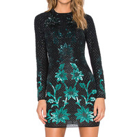 Needle & Thread Ombre Mesh Mini Dress in Black & Green