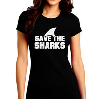 Save The Sharks - Fin Juniors Crew Dark T-Shirt