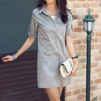 Short Sleeves Collared Long Style Gray Cotton Shirt