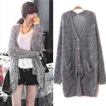 Grey Loose Bat Sleeve Cardigan Sweater = 1827662724