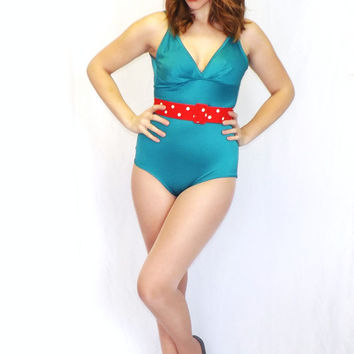 Vintage 1970s 80s Teal Aqua Blue Low Hip One Piece Bathing Suit Retro Size Small Medium Swimsuit Bodysuit Beach Babe Hipster Glam Pin Up