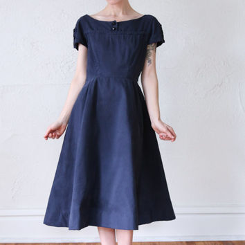 Faux Suede 1950s Dress SMALL