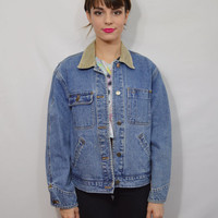 90s Denim Jacket Vintage Small Soft Grunge Corduroy Collar Hipster Vintage Women's Clothing Ralph Lauren Light Wash Blue Jean Pockets Cute