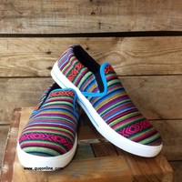 Somewhere Down in Mexico Serape Slip Ons in Turquoise