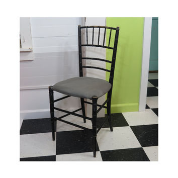 Vintage Chiavari Style Faux Bamboo Chair • Black Wooden Dining Chair • Circa 1930s • Hollywood Regency Ballroom Chair