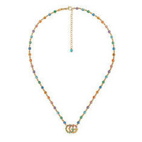 Gucci Double G necklace with multicolor stones