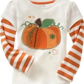 Halloween baby boys cutest pumpkin in the patch boutique top t-shirts clothes Yellow stripe sleeve cotton top raglans kids wear