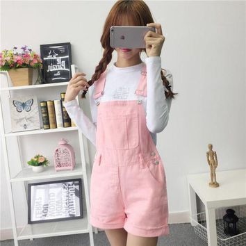 CREYLD1 denim overalls women summer lovely jumpsuits 2018 spring denim jeans overalls shorts pink/white/black overall jumpsuit