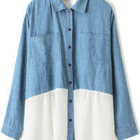Blue and White Color Block Lapel Blouse