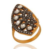 18K Gold Plated Sterling Silver Cubic Zirconia CZ Victorian Design Ring