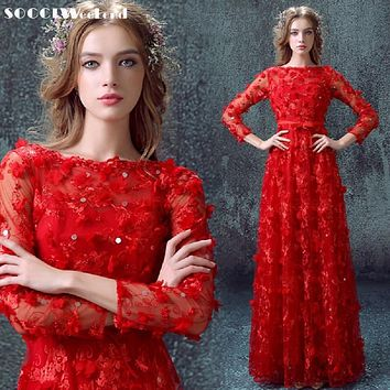 SOCCI New Arrival Long Red elegant Cocktail Dress Muslim Zipper A-line Pearl Flowers Formal Wedding Party Reception Prom Dresses