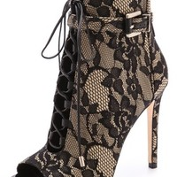 B Brian Atwood Open Toe Lace up Lace Booties | SHOPBOP
