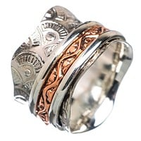 Spinner Ring - Three Tone Scaloped Edge Wide Band